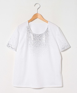 【大きいサイズ】【洗える】ストーンTシャツ/コットン天竺