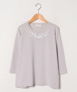 【アンサンブル対応】花柄ビーズ刺繍 ニットプルオーバー