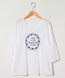 【大きいサイズ】【洗える】コットン天竺 七分袖Tシャツ