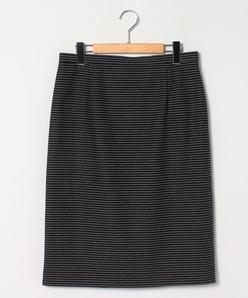 【大きいサイズ】【洗える】【セットアップ対応】シースルーボーダー ジャージースカート