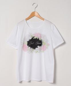 【大きいサイズ】【洗える】 ボタニカルフラワーロゴプリントTシャツ コットン天竺 カットソー