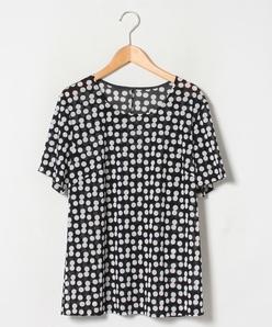 【大きいサイズ】【洗える】半袖Tシャツ/変形ドット柄プリント ポリエステルメッシュ