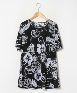 【大きいサイズ】【洗える】ボタニカルフラワー/サラサ柄プリント チュニックTシャツ
