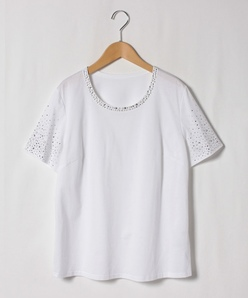【大きいサイズ】【洗える】ストーンTシャツ/コットン天竺ジャージー