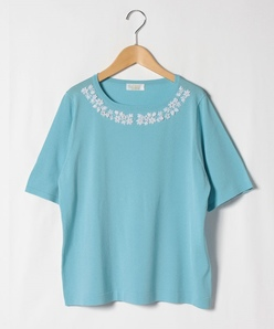 【大きいサイズ】【アンサンブル対応】SONA ビーズ刺繍ニットプルオーバー