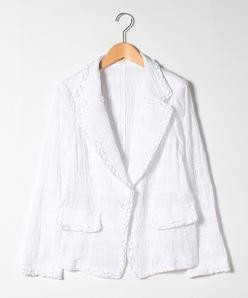 【大きいサイズ】シャーリング刺繍/ストレッチ刺繍 ジャケット