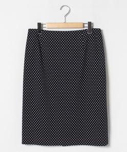 【大きいサイズ】【セットアップ対応】水玉柄ジャカードジャージータイトスカート