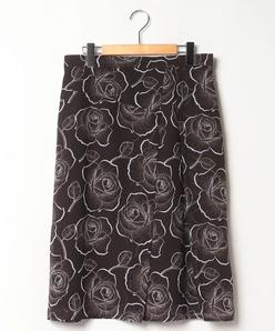 【大きいサイズ】【セットアップ対応】ローズ柄プリントボイル フレアスカート