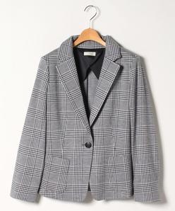 【大きいサイズ】【セットアップ対応】グレンチェックジャージー テーラードジャケット
