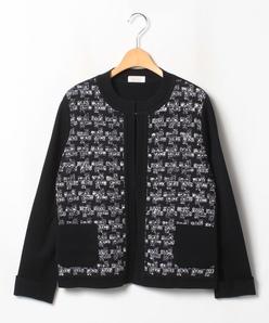 【大きいサイズ】NADIA 異素材使いニットジャケット