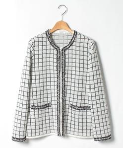【大きいサイズ】ブレード使い ファンシーニットジャケット