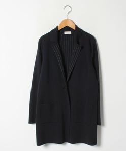 【大きいサイズ】NADIA リバー編みジャカード ニットジャケット