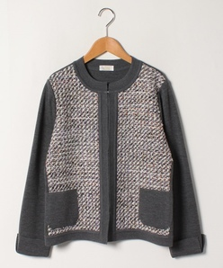 【大きいサイズ】NADIA ファンシーツイード使いニットジャケット