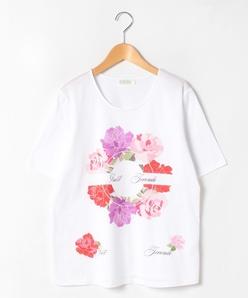 【大きいサイズ】【洗える】フラワーパネルプリント コットン天竺 Tシャツ