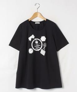 【大きいサイズ】【洗える】スーピマコットンポンチ プリントTシャツ