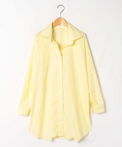 【大きいサイズ】【洗える】コンパクトコットンタイプライター チュニック丈シャツ