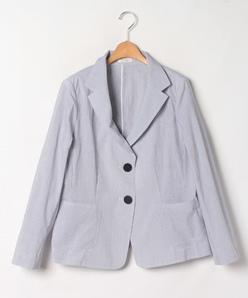 【大きいサイズ】コットンブロードストライプ  テーラードジャケット
