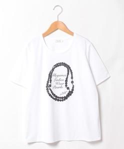 【大きいサイズ】【洗える】スーピマコットンポンチ フロントプリントTシャツ