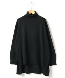 【大きいサイズ】天竺編み タートルネックニットプルオーバー