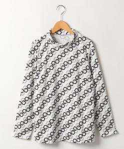【大きいサイズ】【洗える】チェーン柄/小紋柄スムース ハイネックカットソー