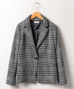 【大きいサイズ】グレンチェックジャージー テーラードジャケット