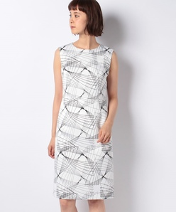 ジオメトリックプリント ノースリーブドレス