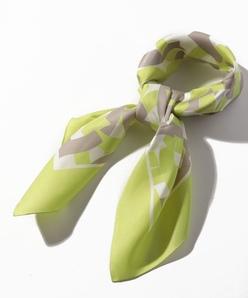 シルクツイル/円形幾何学プリントスカーフ