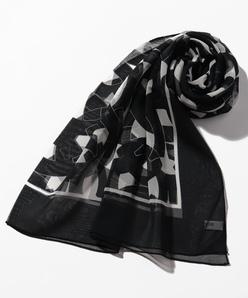 シルクシフォン/円形幾何学プリントスカーフ