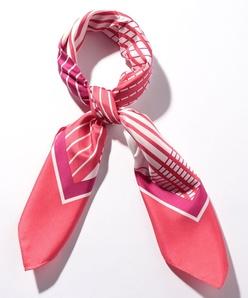 シルクツイル/マルチストライププリントスカーフ