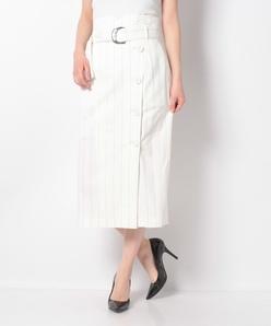 ストライプロングタイトスカート(共布ベルト付き)