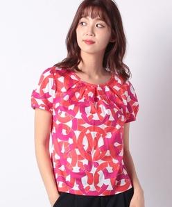 【洗える】円形幾何学プリントTシャツ/コットン天竺