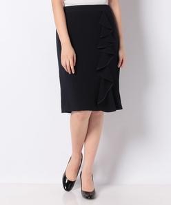 サイドフリルタイトスカート/トリアセテート混二重織