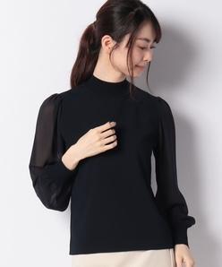 ANA 天竺編み 袖シフォン切替プルオーバー