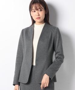 【セットアップ対応】ノーカラージャケット/ツイルジャージー