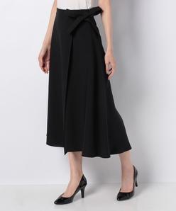 ポリエステル2WAYストレッチ 巻き風フィッシュテールスカート