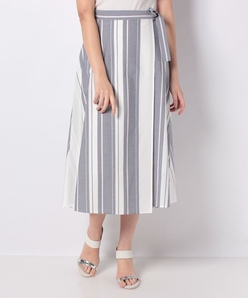 ストライプ巻き風フィッシュテールスカート