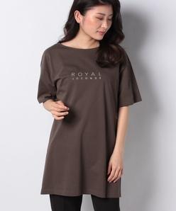 【洗える】コットンハイゲージ天竺 ロゴプリントチュニックTシャツ