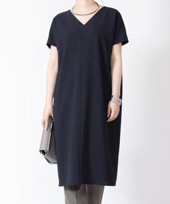 【洗える】梳毛調クロス カフタン風ドレス