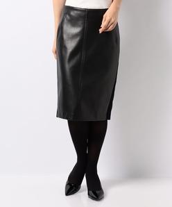【セットアップ対応】異素材切り替えスカート フェイクレザー×ジャージー