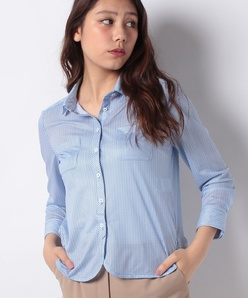 【洗える】ストライププリント メッシュシャツ