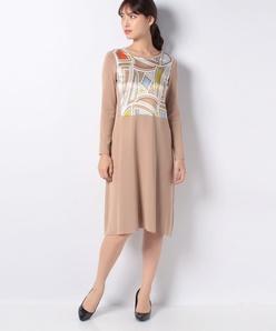 ソフトストレッチニット(パネルプリント)ドレス