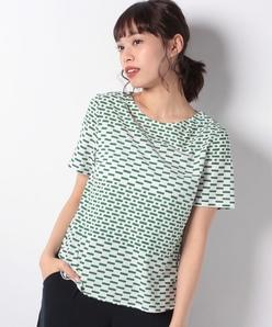 コットン幾何柄プリントTシャツ