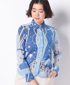パネルプリント ボイルシャツ