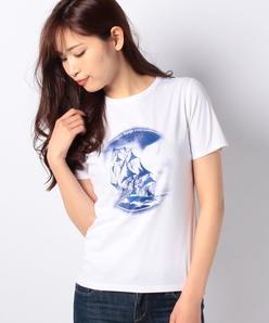 【接触冷感/洗える】スーピマスムース 帆船プリントTシャツ