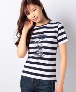 【洗える】帆船プリントボーダーTシャツ
