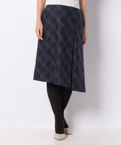 ツィードチェックストレッチ ラップスカート