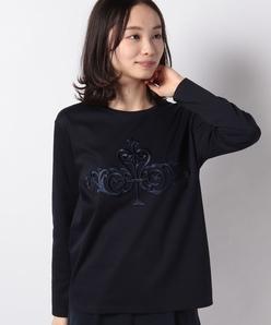 【洗える】スーピマスムース エンブロイダリーTシャツ