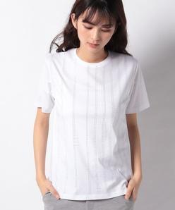 【洗える】スーピマスムース ラメストライプTシャツ