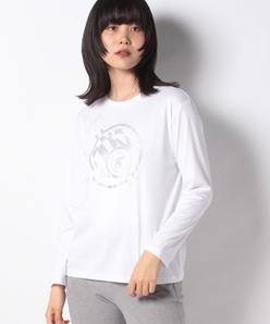 【洗える】スーピマスムース ラメプリントTシャツ