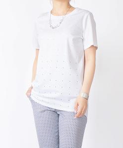 【洗える】スーピマスムース ラインストーンストライプTシャツ